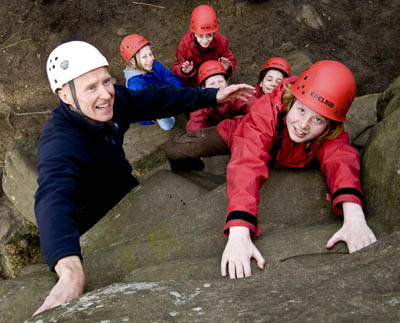 Alan Hinkes with young climbers
