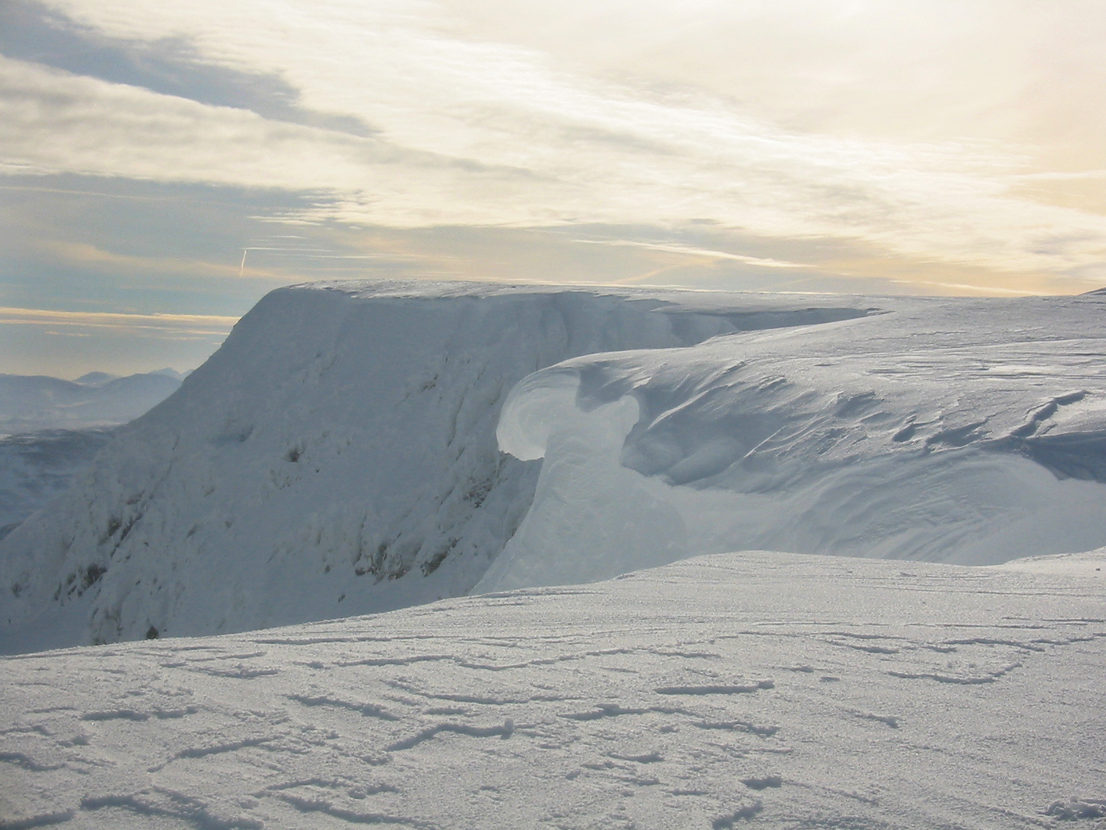 Cornices, such as this one on Aonach Mòr, are prone to sudden collapse