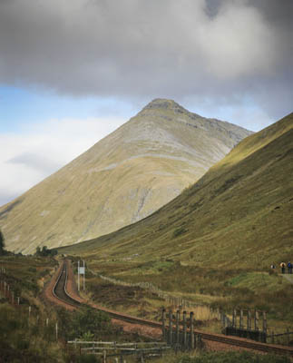 Beinn Dorain and the West Highland Way and railway