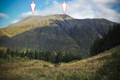 Ben Nevis seen from the South. The left arrow shows Carn Dearg (NW) and the right arrow the summit of the Ben