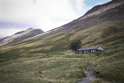 Black Sail Youth Hostel, with the High Crag range behind