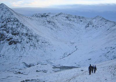 Brown Cove, with Helvellyn's summit centre and Catstycam to the left