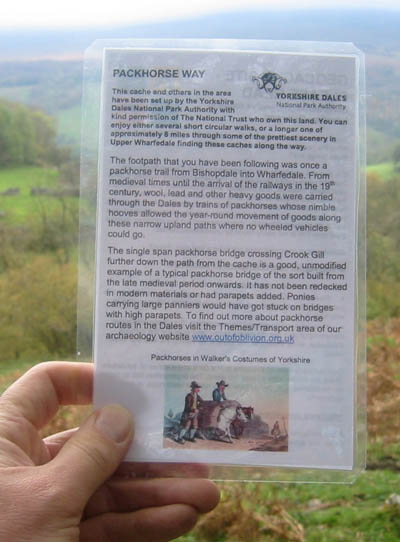 Information card from geocache box