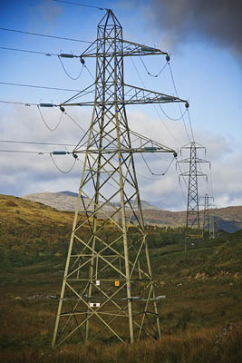 Pylons march across the Scottish Highlands. The RA is fighting a new power line