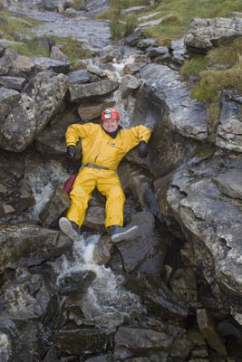 Neil Brooks, of the Yorkshire Subterranean Society, takes a mountain bath after the trip underground