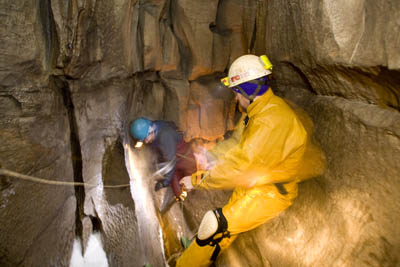 Members lead a previous Try Caving trip underground