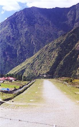 Lukla Airport in 1999. The runway has since been resurfaced