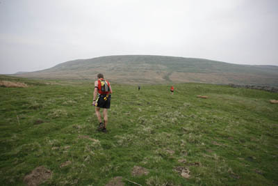 Mark Hartell starts the climb to Great Whernside