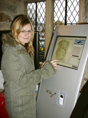 Lynsey Coombs, a history student at Newcastle University, downloads a historical guide onto her iPod