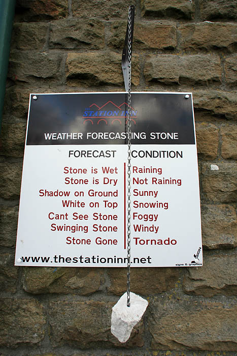 The weather forecasting stone at the Station Inn