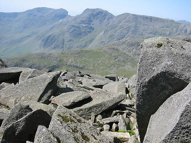 Scafell Pike, the right-hand peak, with its neighbour Scafell
