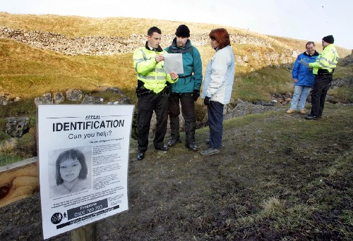 Police quiz walkers on the Pennine Way during investigations into the find