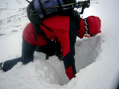 Testing the snowpack for avalanche risk