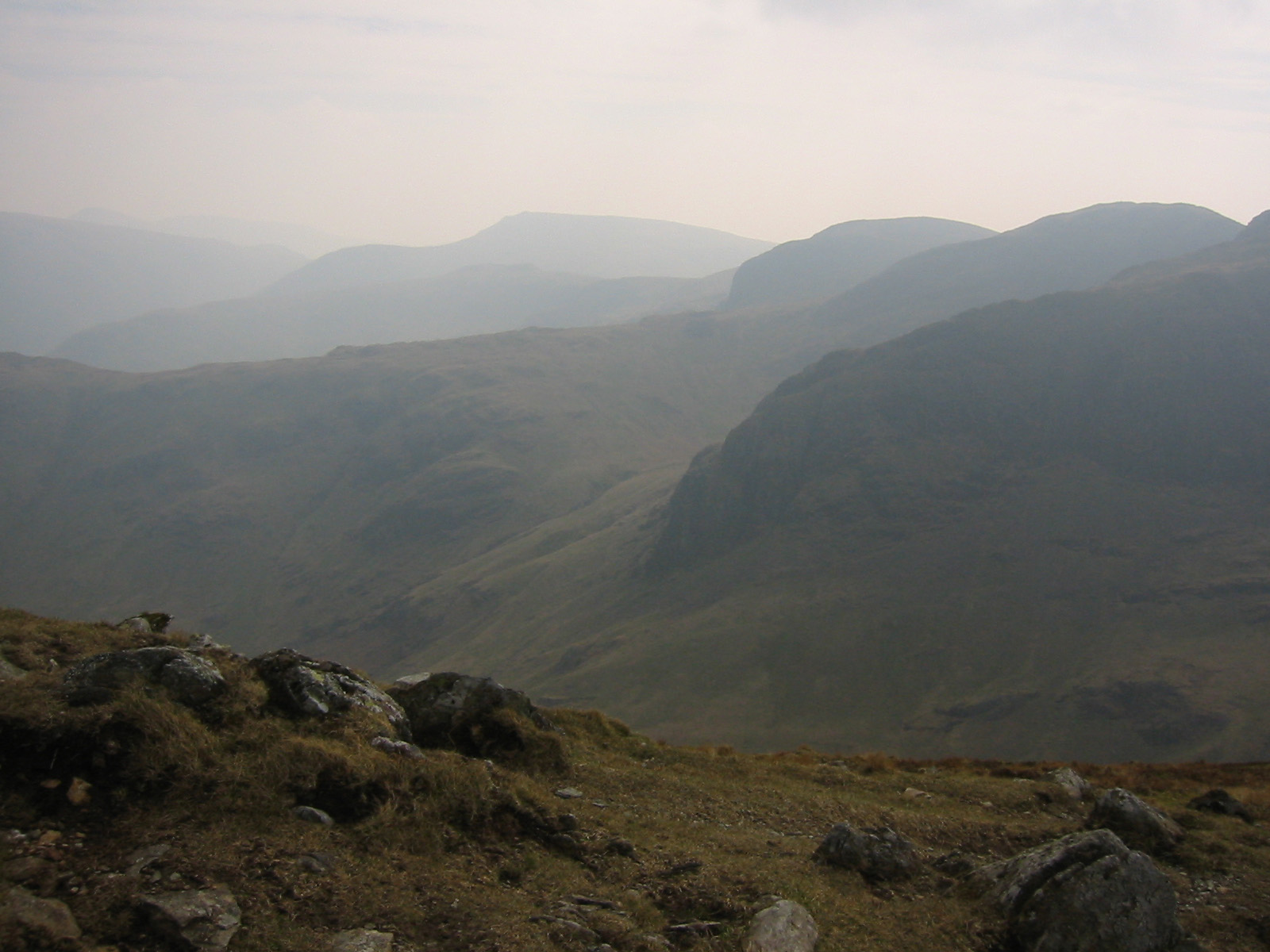Greenhow End, Hart Crag and Dove Crag from St Sunday Crag. In the distance is Red Screes