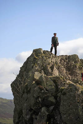 The 'Lion' conquered: Nik stands at the top of Helm Crag