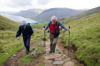 Sir Chris Bonington, right, and fellrunner Jos Naylor make their way to the top of of Scafell Pike