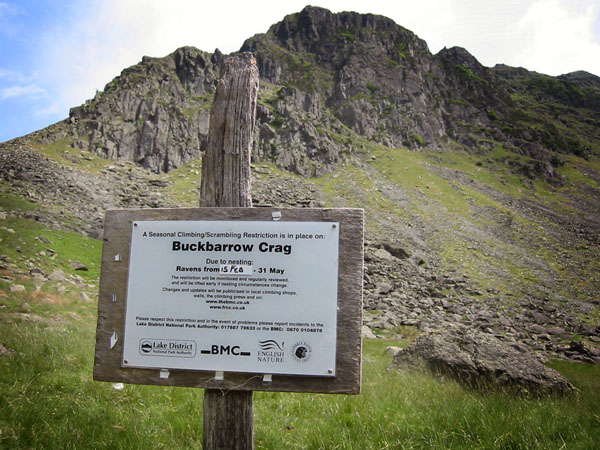 BMC climbing restriction sign at Buckbarrow Crag, Longsleddale, Cumbria