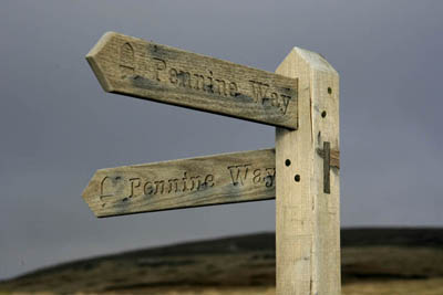 Pennine Way fingerpost on Cam High Road in the Yorkshire Dales