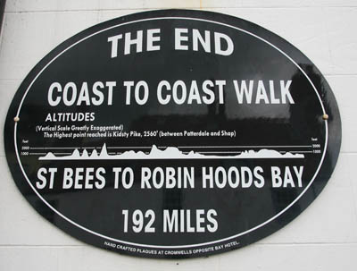 The End: a plaque on the Bay Hotel, Robin Hood's Bay