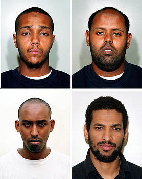 From the top left, clockwise: Ramzi Mohammed, Muktar Said Ibrahim, Hussain Osman and Yassin Omar