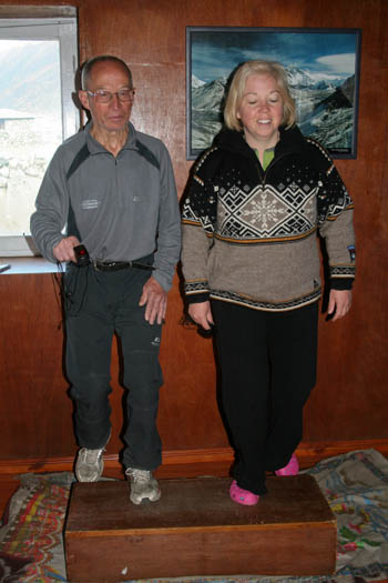 Jacqui and her father William do their step test