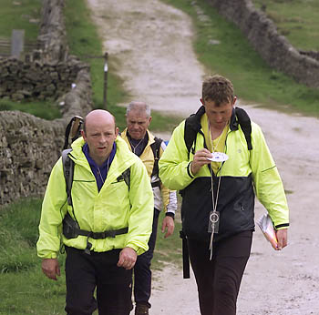 Fellsman Hikers approach a checkpoint