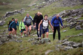 Fellman hikers on the climb to Ingleborough