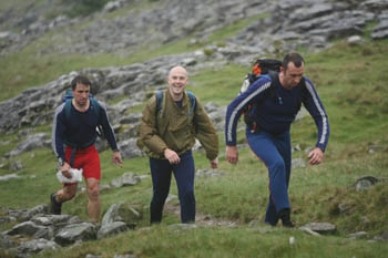 Hikers make the ascent of Ingleborough
