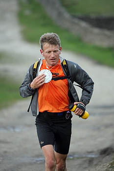 Winner Mark Hartell approaches the final checkpoint at Yarnbury