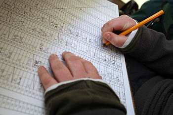 Number crunching: a checkpoint volunteer keeps a tally of hikers