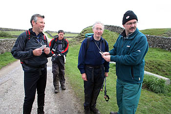 Hikers reach Yarnbury, the last checkpoint before the finish in Theshfield