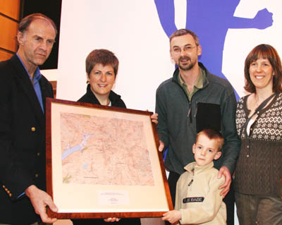 Sir Ranulph, left, with Vanessa Lawrence, parents Paul and Helen Fryers and Tom
