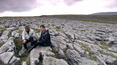 Griff Rhys Jones and Paul Evans from Natural England on limestone pavement