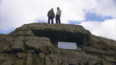 Griff on Fox's pulpit, Firbank Fell, near Sedbergh, with Quaker Roy Stevenson