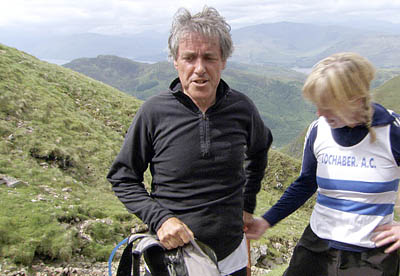 Griff Rhys Jones during the run up Britain's highest mountain Ben Nevis with a group training for the annual Ben Race