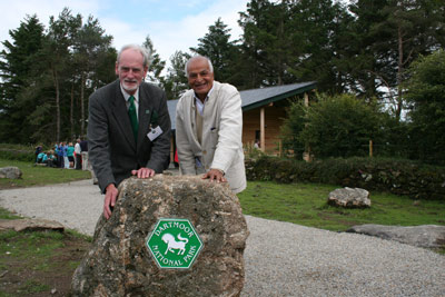 Satish Kumar, right of picture, outside the new centre