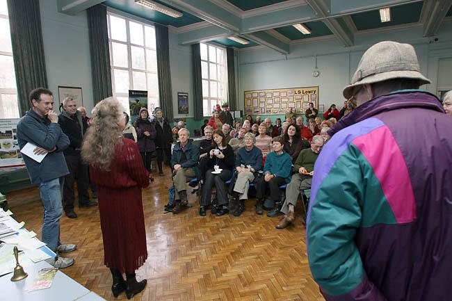 Hebden Royd mayor Cllr Betty Ward addresses the gathering
