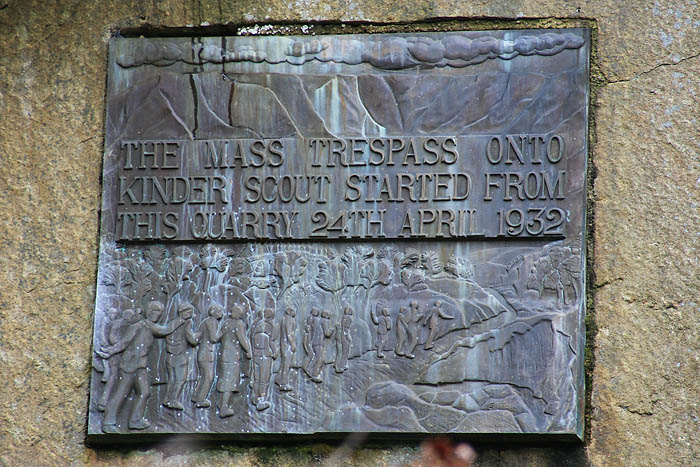 The plaque commemorating the Kinder mass trespass in Bowden Bridge quarry