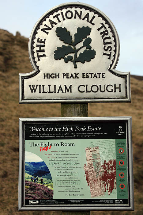 National Trust sign at the bottom of William Clough: right to roam
