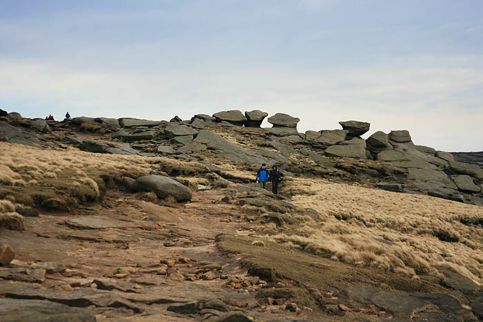 Present-day walkers enjoy Kinder Scout's summit, a pleasure denied to ramblers of the 1930s