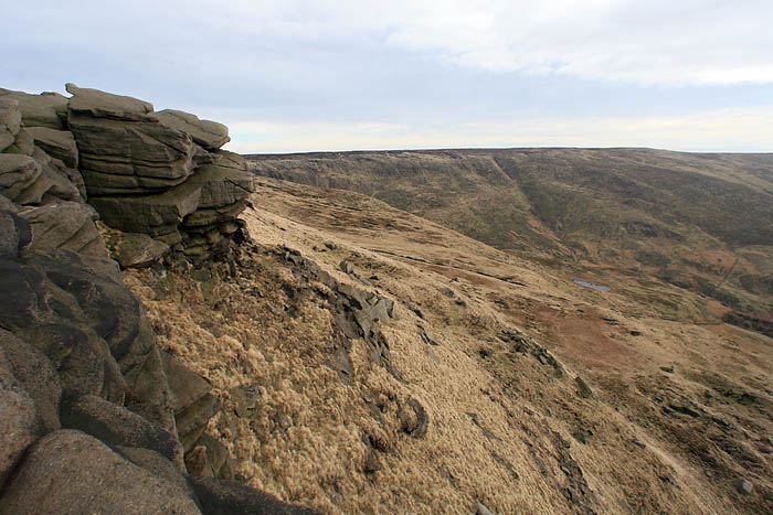 Rock outcrops on Kinder's edge
