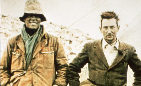 Sandy Irvine, left, with George Mallory