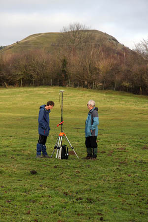 Graham Jackson and John Barnard operating the differential GPS at the col of Earl's Hill.  The summit of the hill is in the background