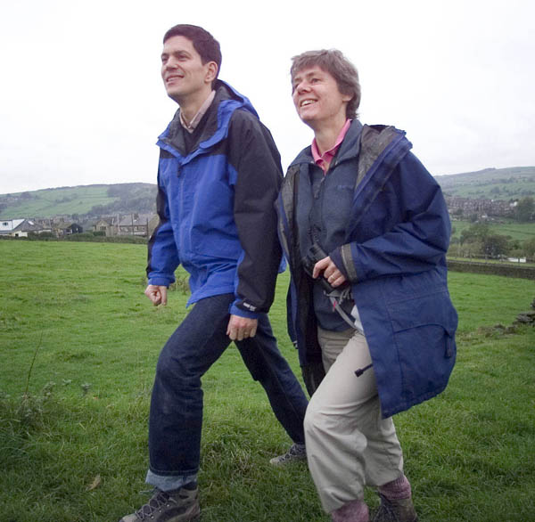 David Miliband and Kate Ashbrook of the Ramblers' Association at the celebration of the first anniversary of the Countryside and Rights of Way Act in West Yorkshire