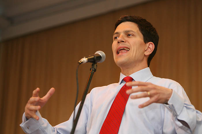 Environment Secretary David Miliband speaks at the Kinder 75 celebration