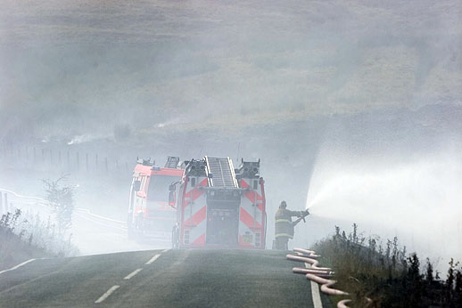 Firefighters tackle a moorland blaze
