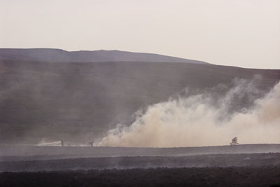 Firefighters battle moorland fire