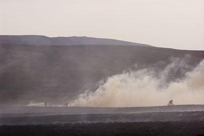 Firefighters battle moorland fire
