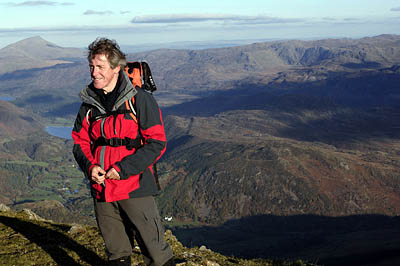Griff Rhys-Jones during filming of Mountain