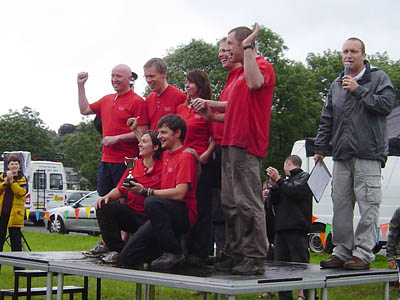 The Patterdale team celebrates it victory in the It's A Knockout contest